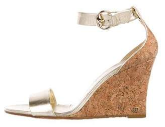 Gucci Leather Metallic Wedges