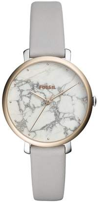 Fossil Women's 'Jacqueline' Quartz Stainless Steel and Leather Casual Watch, Color:Grey (Model: ES4377)