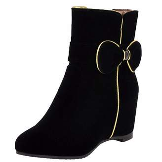 eaba45f7a872 Vitalo Womens Wedge Heel Zip Up Ankle Boots Bow Autumn Winter Booties Size