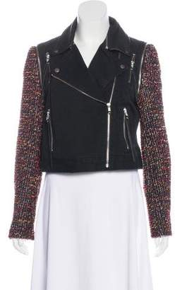 Elizabeth and James Multi-Fabric Moto Jacket