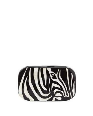 Rafe Kiki Zebra Shell Minaudiere Clutch Bag