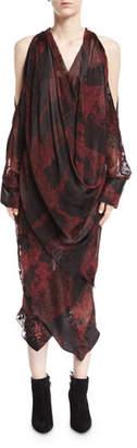 Urban Zen Devore Velvet Cold-Shoulder Draped Midi Dress