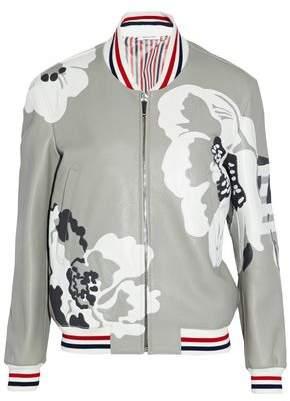 Thom Browne Appliquéd Pebbled-Leather Bomber Jacket