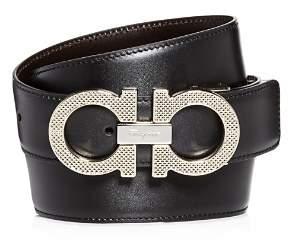 Salvatore Ferragamo Etched Double Gancini Buckle Reversible Leather Belt