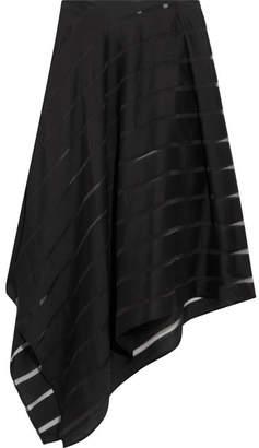Sid Neigum - Striped Slub Wool And Silk-blend Midi Skirt - Black