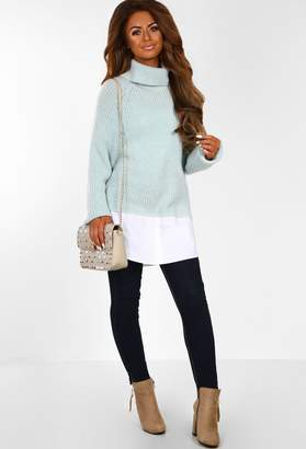 7404a5ae0ddc60 Pink Boutique NYC Baby Mint Roll Neck Oversized Knitted Jumper