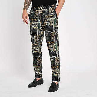 River Island Black print smart pants