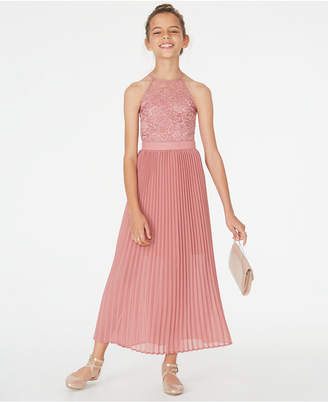 Sequin Hearts Big Girls Pleated Lace Maxi Dress