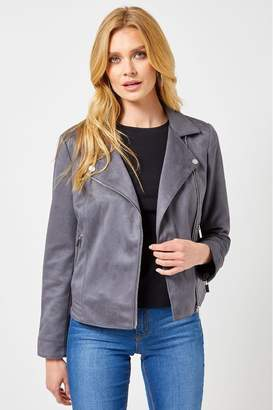 Dorothy Perkins Womens Suedette Biker Jacket - Grey