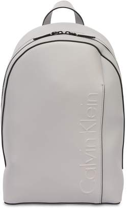 Calvin Klein Logo Faux Leather Backpack