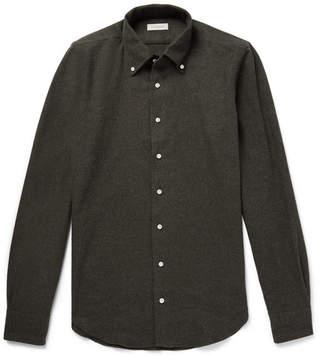 P. Johnson Button-Down Collar Mélange Cotton-Flannel Shirt