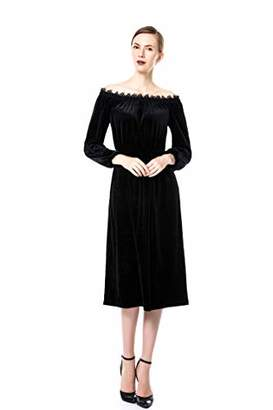 32d732ae823 Blue Rainbow Women Off The Shoulder Long Sleeve Dress Casual Long Dresses  (M)