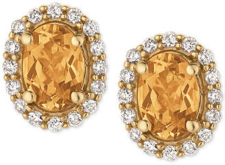 LeVian Le Vian Papaya Morganite (1-1/10 ct. t.w.) and Diamond (1/4 ct. t.w.) Stud Earrings in 14k Gold