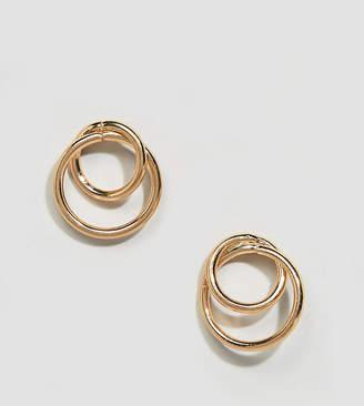 Glamorous linked gold tube hoop earrings