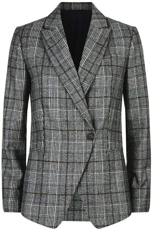 Sequin Collar Check Blazer