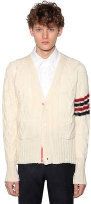 Thom Browne MOHAIR & WOOL CABLE KNIT CARDIGAN