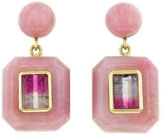 Retrouvaí Bi-Color Pink Violet Tourmaline in Pink Opal Lollipop Earrings
