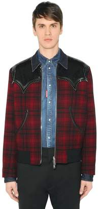 DSQUARED2 Western Sequined Wool Flannel Jacket