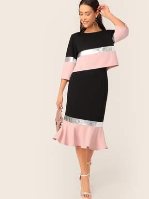 Shein Metallic Panel Colorblock Top and Fishtail Hem Skirt Set