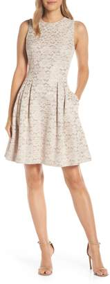 Vince Camuto Fused Lace Fit & Flare Dress