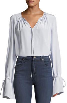 Diane von Furstenberg Long-Sleeve Silk Crepe Keyhole Blouse