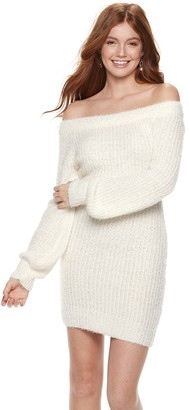 Almost Famous Juniors' Eyelash Off-Shoulder Mini Sweater Dress