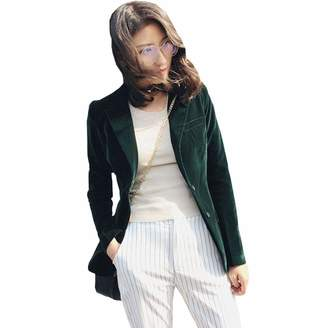 KoHuiJoo Women Vevet Jacketong Seeve Casua Eegant Office Work Bazer Jacket
