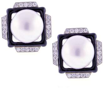 David Webb Platinum & 18K Yellow Gold with Pearl & Diamond Earrings