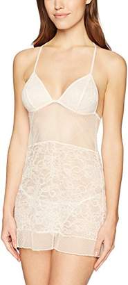 Mae Women's Allover Lace Chemise And Thong Set