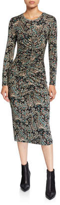 Joie Aja Paisley-Print Ruched Long-Sleeve Dress