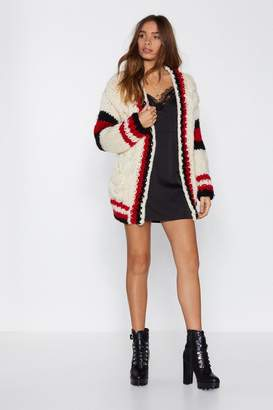 Nasty Gal Lay Your Cards On the Cable Knit Cardigan