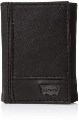 Levi's Men's Leather Trifold Two-Tone Wallet