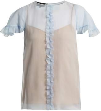 Rochas Sheer pleated ruffle silk blouse