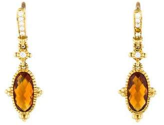 Judith Ripka 18K Citrine & Diamond Drop Earrings