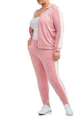 ONLINE Women's Plus Velour One Stripe Track Suit