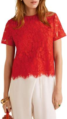 MANGO Short-Sleeve Lace Top