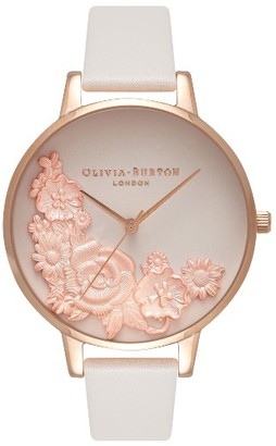 Women's Olivia Burton Begin To Blush Leather Strap Watch, 38Mm $225 thestylecure.com