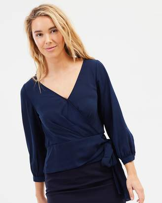 Forcast Henley Crossover Blouse