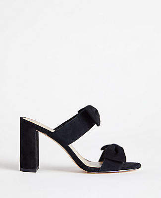 Ann Taylor Janie Suede Bow Heeled Sandals