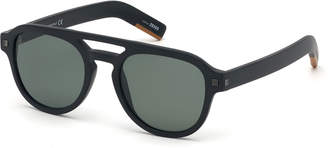 Ermenegildo Zegna Men's Rectangular Acetate Pilot Sunglasses - Polarized