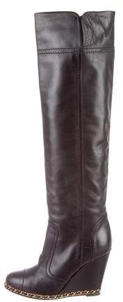 Chanel Leather Over-The-Knee Boots