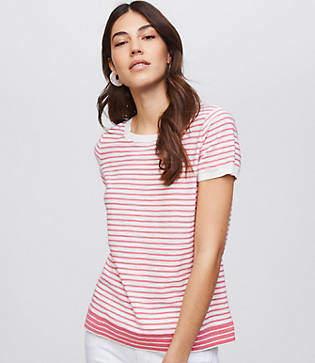 LOFT Petite Mixed Stripe Textural Sweater Tee