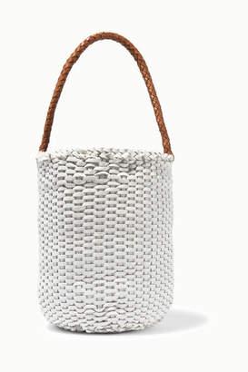 Dragon Optical Diffusion - B Small Woven Leather Bucket Bag - White
