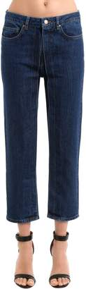 Aalto PLEATED CROPPED COTTON DENIM JEANS