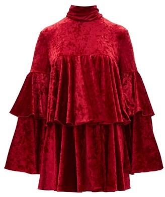 Sara Battaglia High Neck Crushed Velvet Mini Dress - Womens - Red