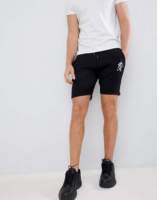 Gym King logo shorts in black with side stripe taping