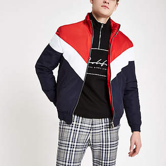 River Island Red chevron funnel neck padded jacket