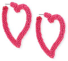 Sachin + Babi Seed Bead Heart Hoop Earrings, Fuchsia