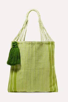 Nannacay Net Sustain Bianca Tasseled Striped Crocheted Cotton-blend Tote - Green