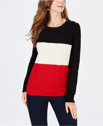 Charter Club Colorblocked Cable-Knit Sweater